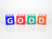Good out of multicolored Letter Dices Stock Photo