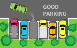 Good Parking. Car Parked in Appropriate Way Vector. Good parking. Car parked in appropriate way. Intelligent polite, courteous, civil car driver. Parking zone Royalty Free Stock Images