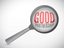 Good partnership and magnify glass. illustration Stock Photography