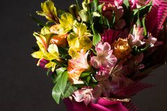 Beautiful elegant summer spring bouquet with roses and alstroemerias stock photos