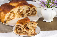 Good piece of traditional italian flavorous cake La Gubana. Royalty Free Stock Photography