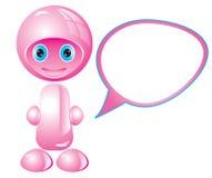 Good pink robot with a balloon. Illustration Stock Illustration