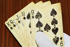 Good poker combination in man& x27;s hand Royalty Free Stock Photos
