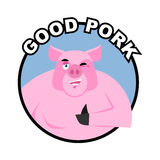 Good pork. Pig thumbs up well and winks. Signs all right. Cheerf Stock Photo