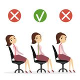 Good posture set. Woman with bad and good spine sitting in office Royalty Free Stock Image