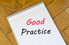 Good practice text concept on notebook Royalty Free Stock Photography