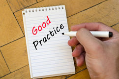 Good practice text concept on notebook Royalty Free Stock Photo