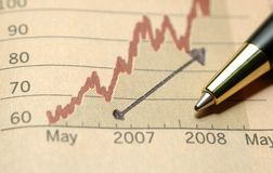 Good progress in business. Pen on current business achievement graph Stock Photography