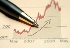 Good progress in business. Pen on current business achievement graph Royalty Free Stock Images