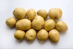 Fresh potatoes. Good quality photo of clean fresh potatoes served on some white surface. Potato is one of the most popular vegetables in all cuisines all over Royalty Free Stock Photography