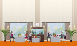 Good restaurant concept vector illustration in flat style. Vector illustration of luxury restaurant interior, waiters and people having dinner, lunch or supper Stock Image