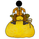 Good return. Silhouette-man sitting on a big bag of money Royalty Free Stock Photography