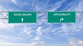 Good salary and inflexibility. Road signs to good salary and inflexibility stock photos
