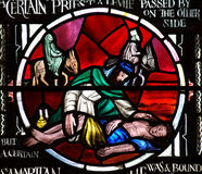 The Good Samaritan in stained glass Royalty Free Stock Image