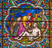 Good Samaritan stained glass window Royalty Free Stock Images