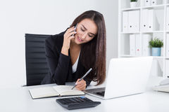 Good secretary in black clothes Royalty Free Stock Image
