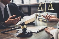 Good service cooperation, Consultation of Businesswoman and Male. Lawyer or judge counselor having team meeting with client, Law and Legal services concept stock images
