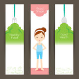 Good shape girl and clean foods banner concept Royalty Free Stock Photography