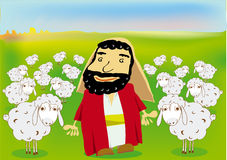A good shepherd. And his flock of sheeps Royalty Free Stock Photo