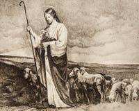 Good Shepherd. Jesus - Good Shepherd - old lithography Royalty Free Stock Photo