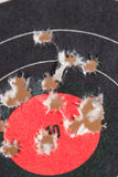 Good Shot. Paper target with bullet holes in it Stock Photos