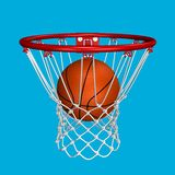 Good shot. Rendered basketball in the basket over blue background (suitable for fast selection Royalty Free Stock Photography