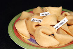 Fortune cookies. Variety of predictions inside fortune cookies Royalty Free Stock Photos