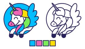 Unicorn coloring. Good simple coloring for kids education and inspiration with happy colorful fantasy unicorn pony pegasus with wings which fly in sky. Modern Royalty Free Stock Photography