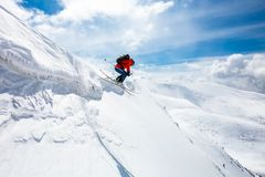 Good skiing in the snowy mountains. Royalty Free Stock Photography
