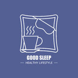 Good sleep vector logo design template. Modern linear branding element for healthy lifestyle company. Rest and relax. Elements illustration Stock Photos