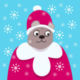 Good smiling bear in the clothes of Santa Claus. royalty free stock photography