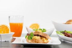 Good and solid breakfast, isolated on white Stock Photo