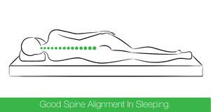 Good spine alignment in sleeping. stock illustration