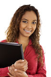 Good Student. Stock image of female student over white background Royalty Free Stock Images