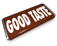 Good Taste Chocolate Candy Bar Wrapper. A brown chocolate candy bar wrapper with the words Good Taste to illustrate someone with flair, style and trend setting vector illustration