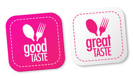 Good taste and Great taste stickers Stock Photography