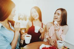Good Tea and Good Biscuit. Tea Time with Friends. March and Spring. Family with Together. Beautiful Dress and Beautiful Girl. Celebrate 8 March. Charming Girl royalty free stock photos