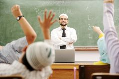 Good teacher in classroom royalty free stock photos