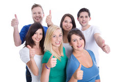 Good team work with happy thumbs up man and woman isolated on wh Stock Images