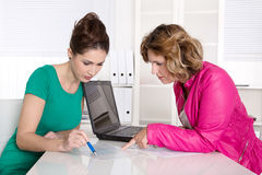 Good teamwork under women - female cooperation. Stock Photography