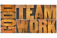 Good teamwork word in wood type Stock Image