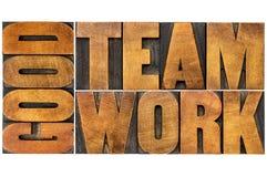 Good teamwork word in wood type Stock Image