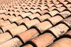 Terracota tiled roof texture stock images