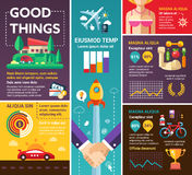 Good Things - poster, brochure cover template. Good Things - info poster, brochure cover template layout with flat design icons, other infographic elements and Stock Image