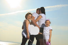 Good time family in front of ocean Royalty Free Stock Images