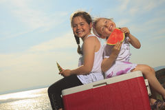Good time family in front of ocean Royalty Free Stock Photo