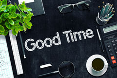 Good Time - Text on Black Chalkboard. 3D Rendering. Royalty Free Stock Photos