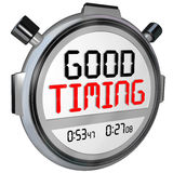 Good Timing Words Stopwatch Timer Fast Speed Arrival Royalty Free Stock Photo