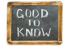 Good to know fr. Good to know phrase handwritten on vintage school slate board isolated on white Stock Photo