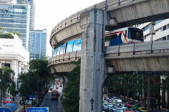 Good travel in Bangkok by sky train. Save time for visit other place Royalty Free Stock Photos